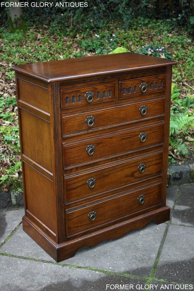 Image 59 of OLD CHARM LIGHT OAK TALL CHEST OF DRAWERS TV STAND SIDEBOARD