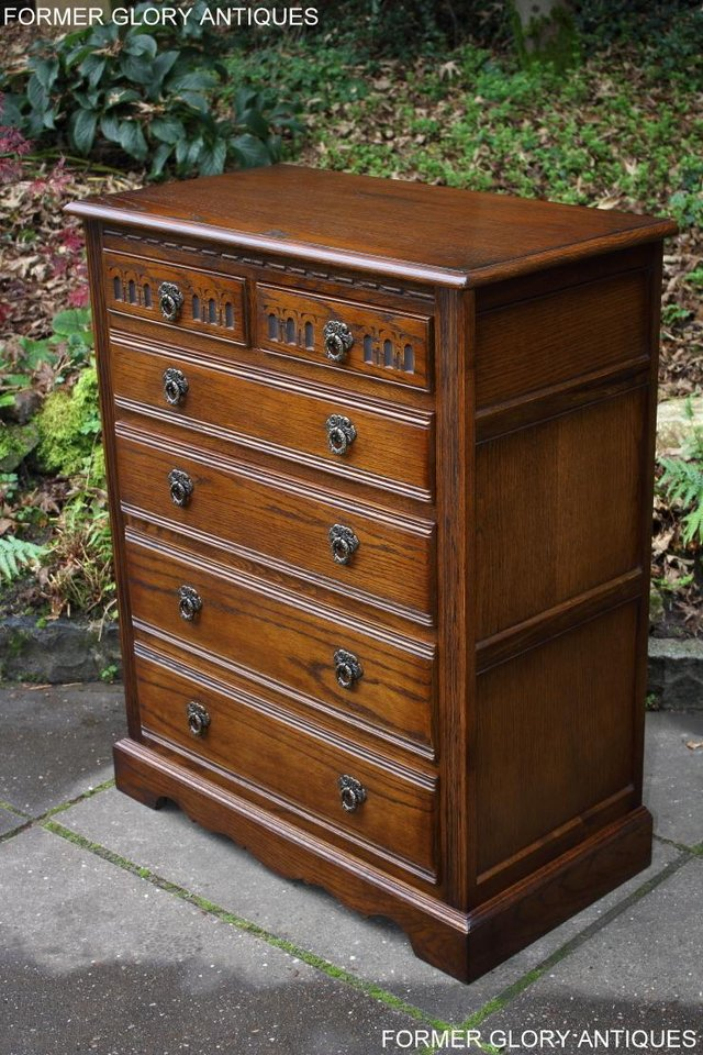 Image 68 of OLD CHARM LIGHT OAK TALL CHEST OF DRAWERS TV STAND SIDEBOARD