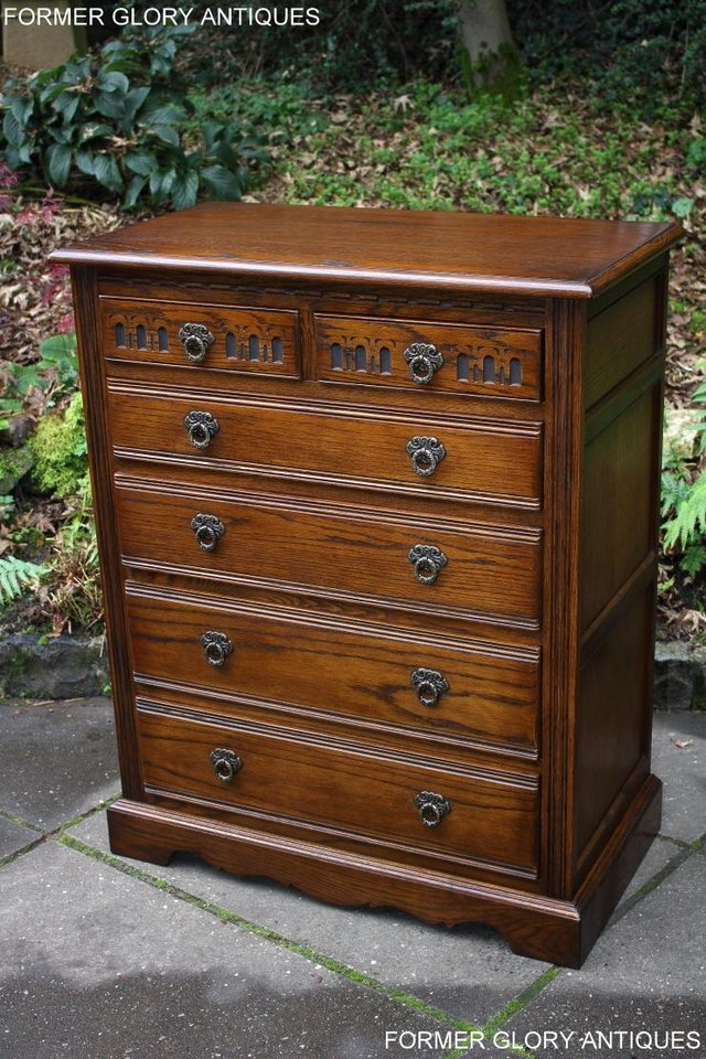 Image 69 of OLD CHARM LIGHT OAK TALL CHEST OF DRAWERS TV STAND SIDEBOARD