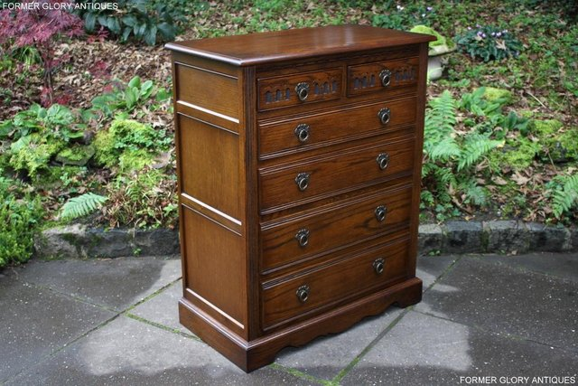 Image 75 of OLD CHARM LIGHT OAK TALL CHEST OF DRAWERS TV STAND SIDEBOARD