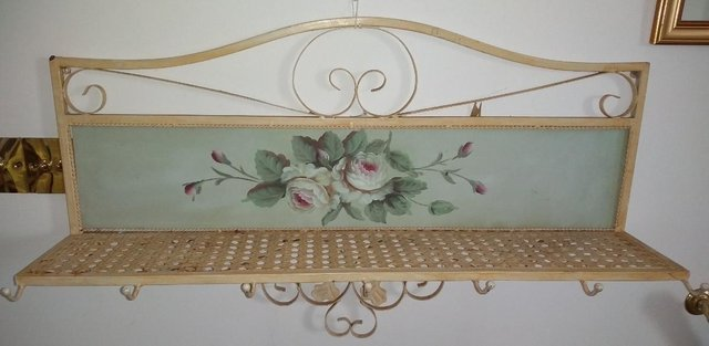 Preview of the first image of French Style Ornate Floral-motif Metal Coat Rack and Shelf.