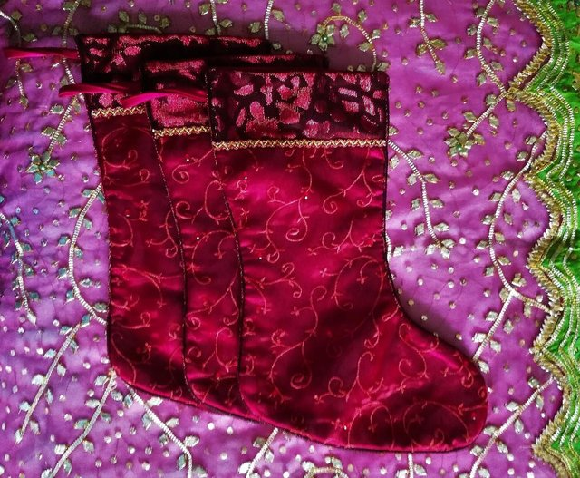Preview of the first image of 3 CHRISTMAS Stockings & Tree Skirt Set Red Satin Embriodery.