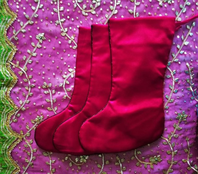 Image 3 of 3 CHRISTMAS Stockings & Tree Skirt Set Red Satin Embriodery