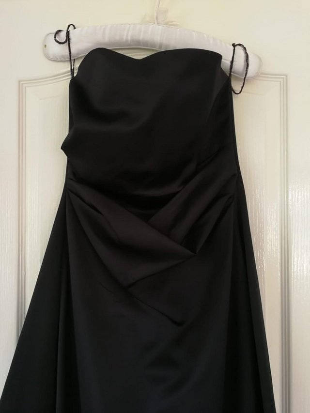 Image 2 of Prom / long dress / posh frock - black size 10, satin