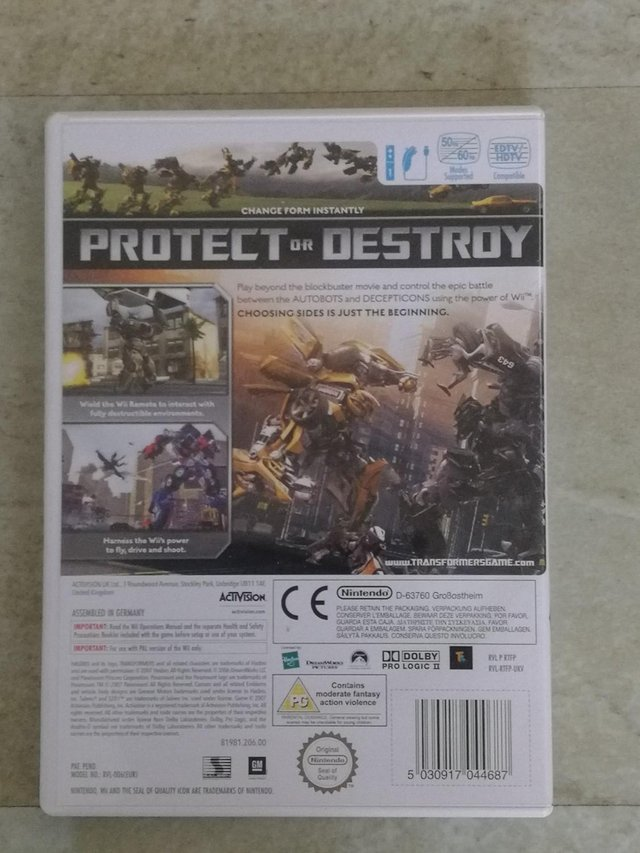 Preview of the first image of Nintendo Wii Game 'Transformers The Game' Rated PG.