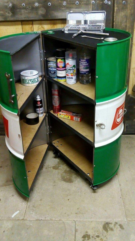 Image 3 of Bespoke Oil Drum Furniture, tool cabinet, bar, mancave
