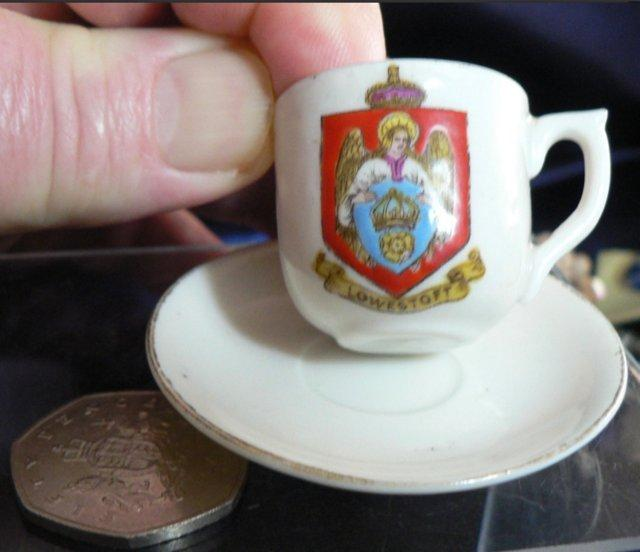 Preview of the first image of Crested China Cup And Saucer - Lowestoft Crest.