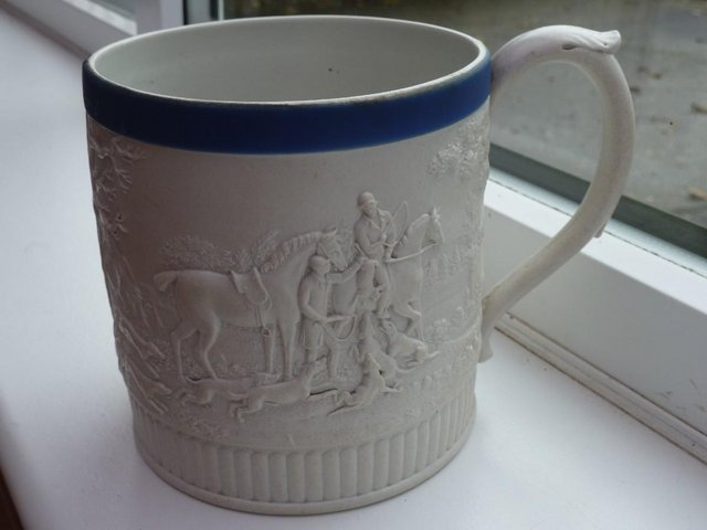 Preview of the first image of Rare Wedgwood Hunt Mug Antique 1820.