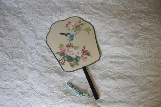 Preview of the first image of Vintage Chinese Hand Painted Silk Paddle Fan For Decoration.
