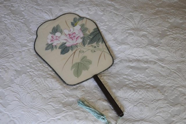 Image 3 of Vintage Chinese Hand Painted Silk Paddle Fan For Decoration