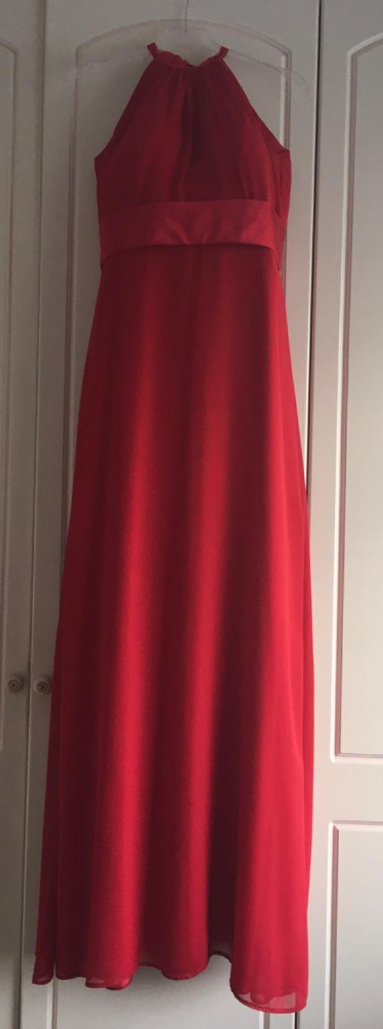 Preview of the first image of Floor length prom or bridesmaid dress - red - extra long.