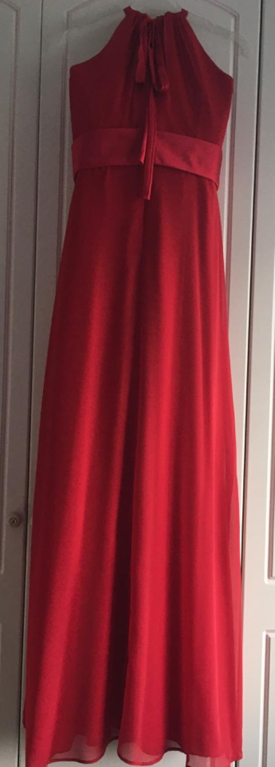 Image 3 of Floor length prom or bridesmaid dress - red - extra long