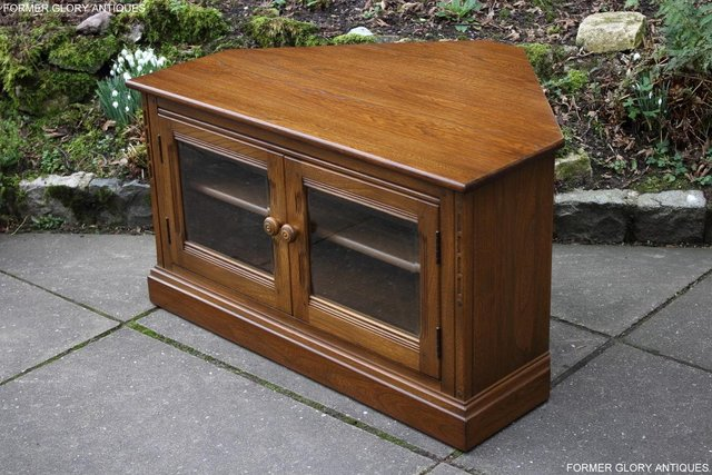 Image 2 of AN ERCOL GOLDEN DAWN CORNER TV CABINET DVD STAND TABLE UNIT