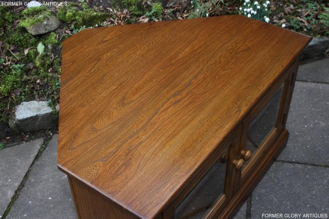 Image 6 of AN ERCOL GOLDEN DAWN CORNER TV CABINET DVD STAND TABLE UNIT