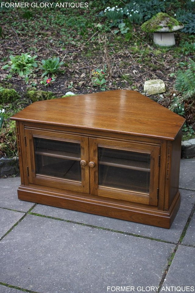 Image 7 of AN ERCOL GOLDEN DAWN CORNER TV CABINET DVD STAND TABLE UNIT