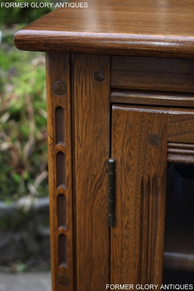 Image 8 of AN ERCOL GOLDEN DAWN CORNER TV CABINET DVD STAND TABLE UNIT