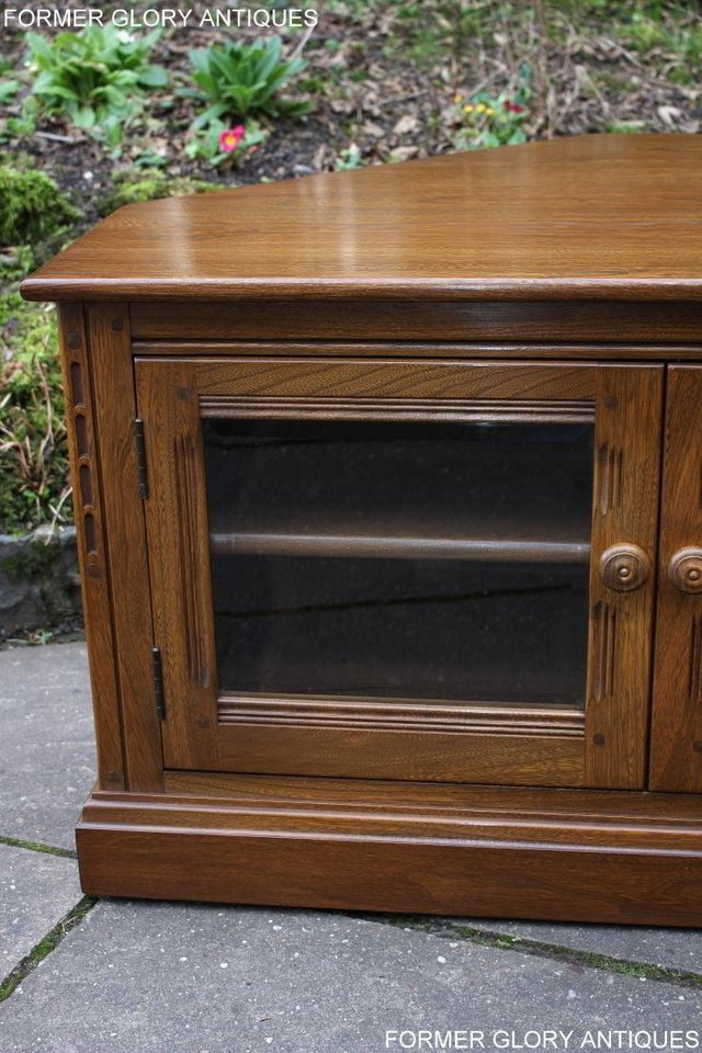Image 9 of AN ERCOL GOLDEN DAWN CORNER TV CABINET DVD STAND TABLE UNIT