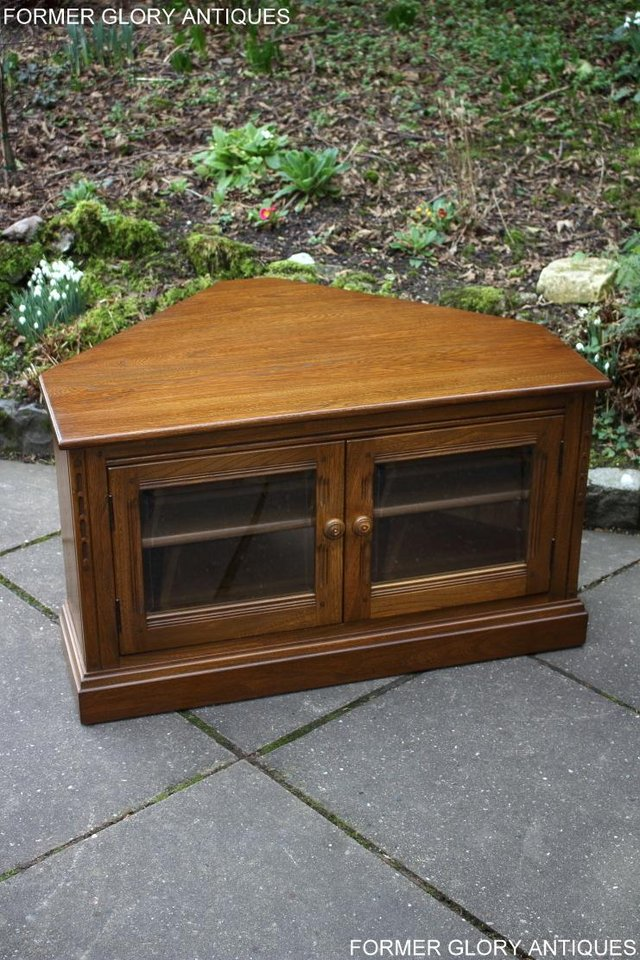 Image 10 of AN ERCOL GOLDEN DAWN CORNER TV CABINET DVD STAND TABLE UNIT