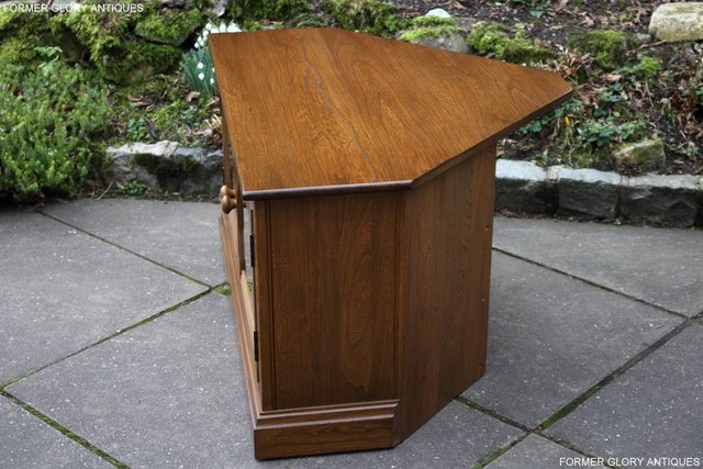Image 11 of AN ERCOL GOLDEN DAWN CORNER TV CABINET DVD STAND TABLE UNIT