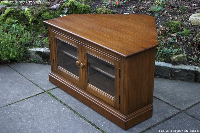 Image 12 of AN ERCOL GOLDEN DAWN CORNER TV CABINET DVD STAND TABLE UNIT