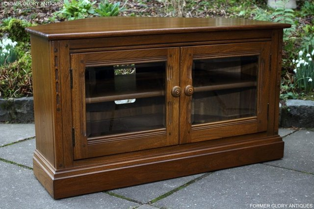 Image 14 of AN ERCOL GOLDEN DAWN CORNER TV CABINET DVD STAND TABLE UNIT
