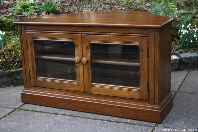 Image 17 of AN ERCOL GOLDEN DAWN CORNER TV CABINET DVD STAND TABLE UNIT