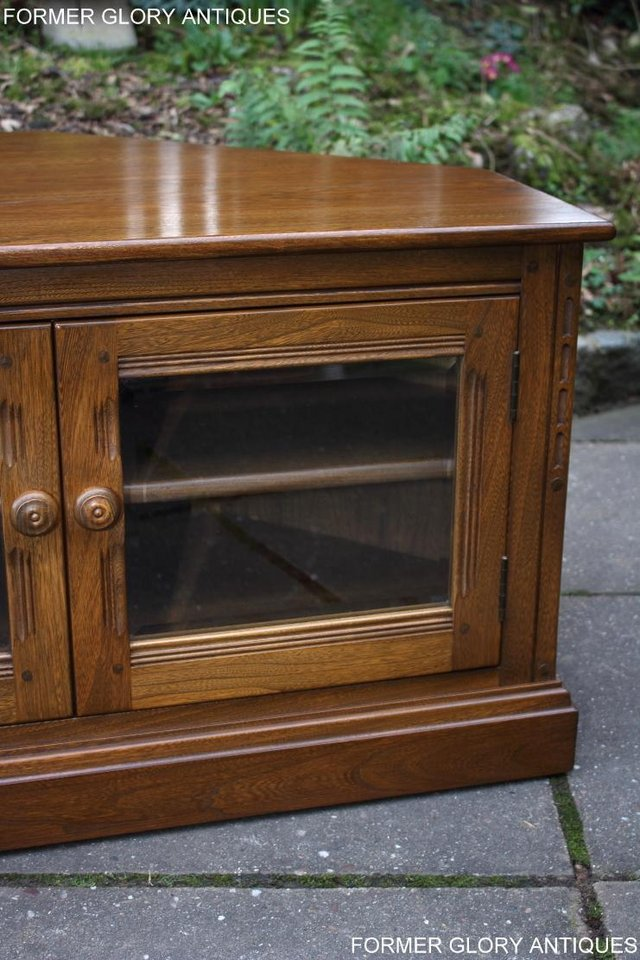 Image 19 of AN ERCOL GOLDEN DAWN CORNER TV CABINET DVD STAND TABLE UNIT