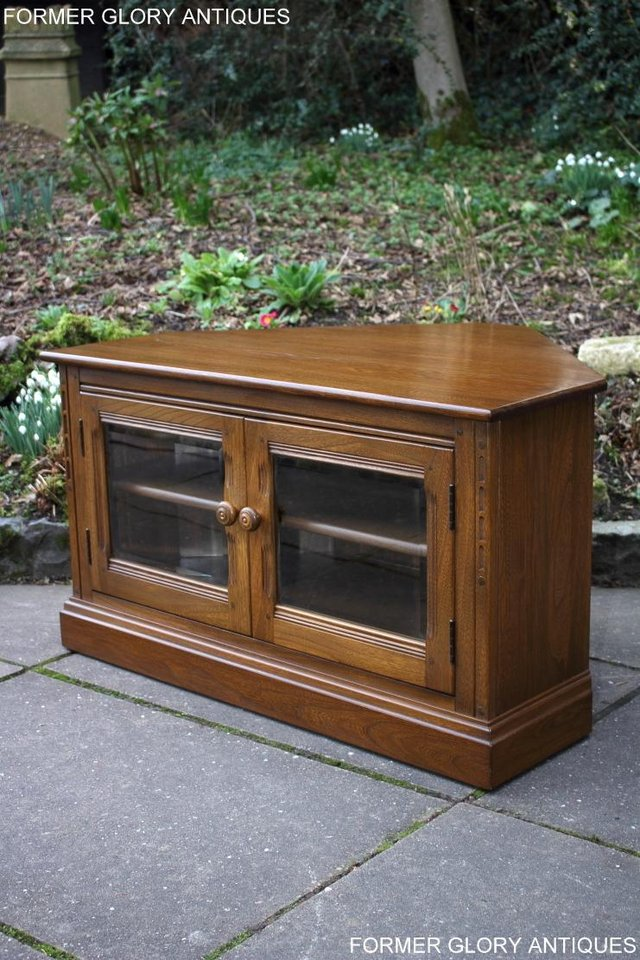 Image 22 of AN ERCOL GOLDEN DAWN CORNER TV CABINET DVD STAND TABLE UNIT