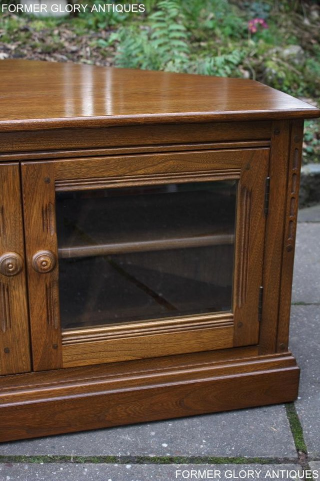 Image 23 of AN ERCOL GOLDEN DAWN CORNER TV CABINET DVD STAND TABLE UNIT