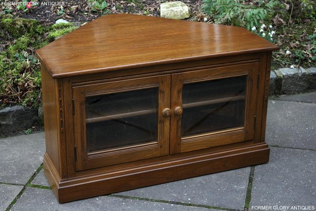 Image 25 of AN ERCOL GOLDEN DAWN CORNER TV CABINET DVD STAND TABLE UNIT