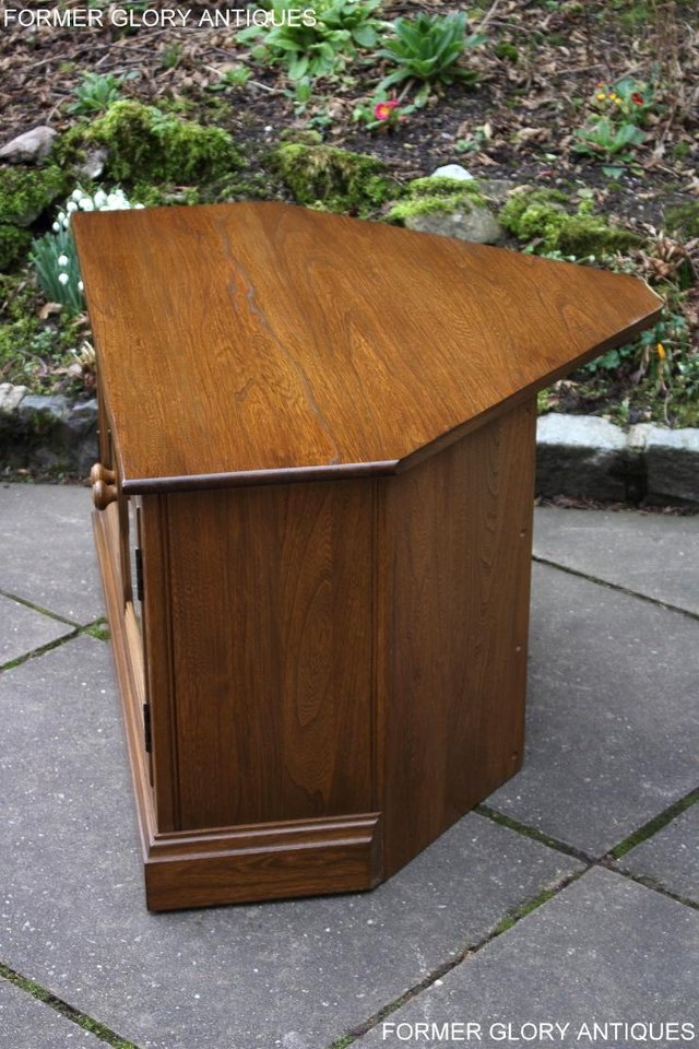 Image 26 of AN ERCOL GOLDEN DAWN CORNER TV CABINET DVD STAND TABLE UNIT