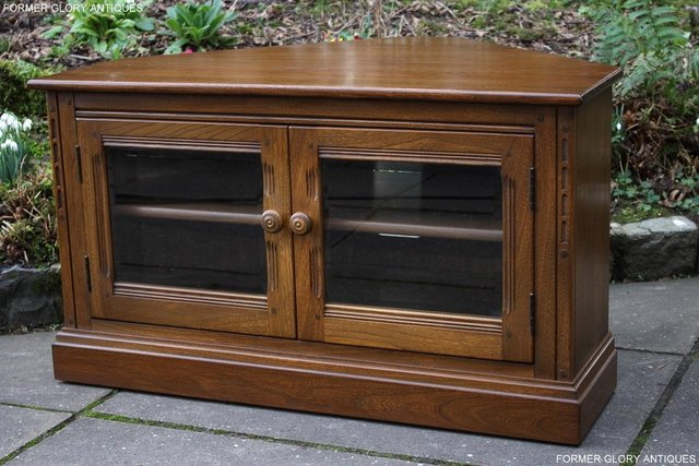 Image 27 of AN ERCOL GOLDEN DAWN CORNER TV CABINET DVD STAND TABLE UNIT