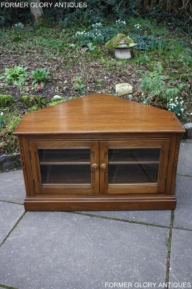 Image 28 of AN ERCOL GOLDEN DAWN CORNER TV CABINET DVD STAND TABLE UNIT