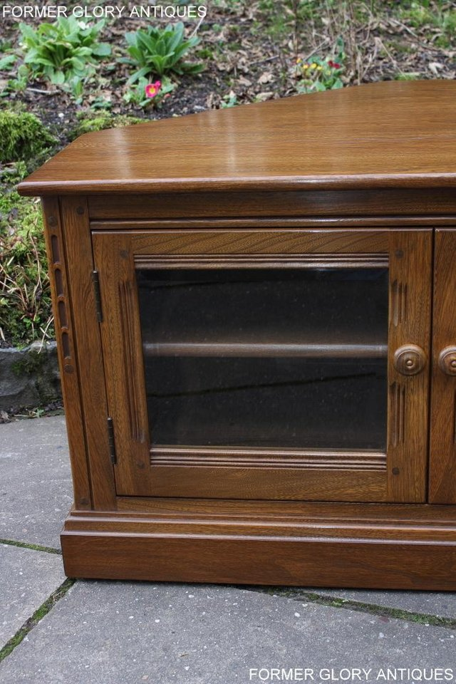 Image 32 of AN ERCOL GOLDEN DAWN CORNER TV CABINET DVD STAND TABLE UNIT