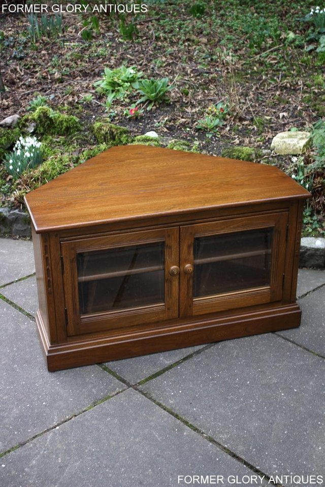 Image 36 of AN ERCOL GOLDEN DAWN CORNER TV CABINET DVD STAND TABLE UNIT