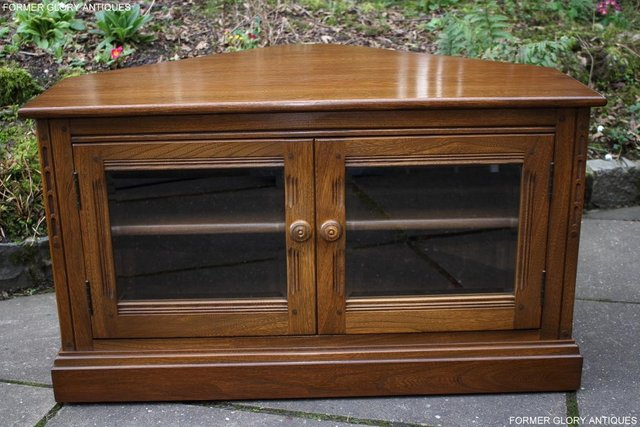 Image 37 of AN ERCOL GOLDEN DAWN CORNER TV CABINET DVD STAND TABLE UNIT