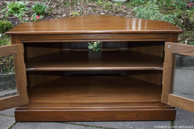 Image 38 of AN ERCOL GOLDEN DAWN CORNER TV CABINET DVD STAND TABLE UNIT