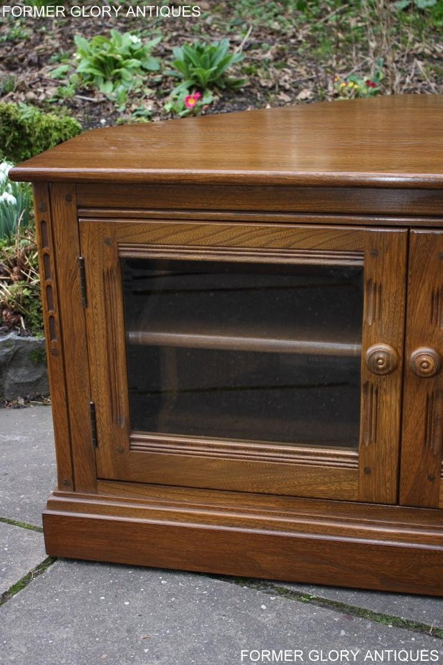 Image 39 of AN ERCOL GOLDEN DAWN CORNER TV CABINET DVD STAND TABLE UNIT