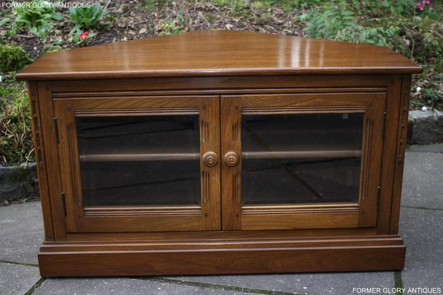 Image 43 of AN ERCOL GOLDEN DAWN CORNER TV CABINET DVD STAND TABLE UNIT