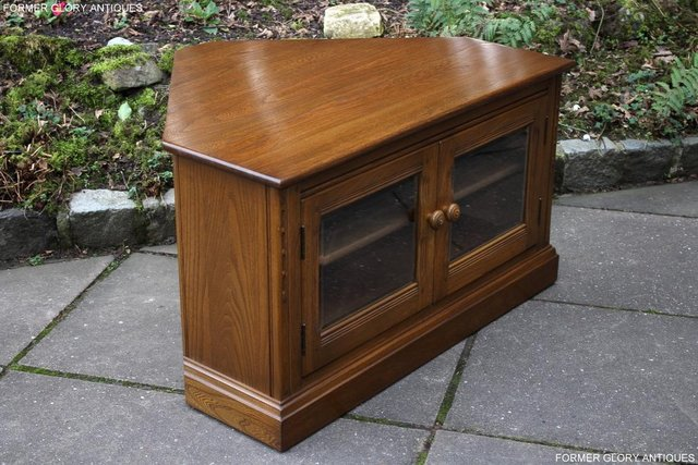 Image 45 of AN ERCOL GOLDEN DAWN CORNER TV CABINET DVD STAND TABLE UNIT