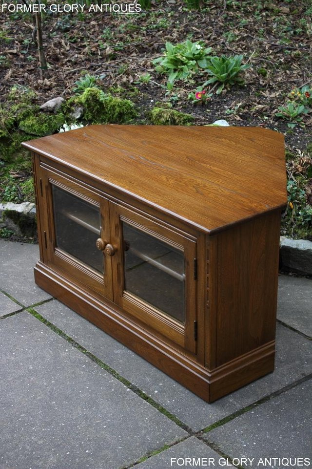 Image 47 of AN ERCOL GOLDEN DAWN CORNER TV CABINET DVD STAND TABLE UNIT