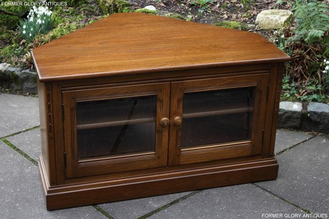 Image 50 of AN ERCOL GOLDEN DAWN CORNER TV CABINET DVD STAND TABLE UNIT