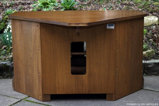 Image 57 of AN ERCOL GOLDEN DAWN CORNER TV CABINET DVD STAND TABLE UNIT