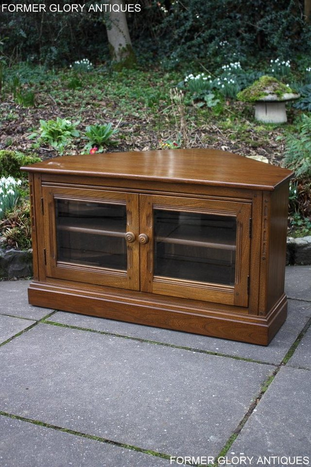 Image 58 of AN ERCOL GOLDEN DAWN CORNER TV CABINET DVD STAND TABLE UNIT