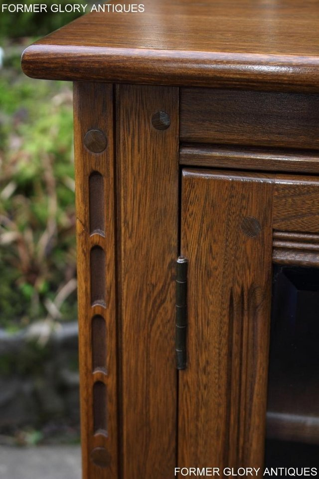 Image 59 of AN ERCOL GOLDEN DAWN CORNER TV CABINET DVD STAND TABLE UNIT