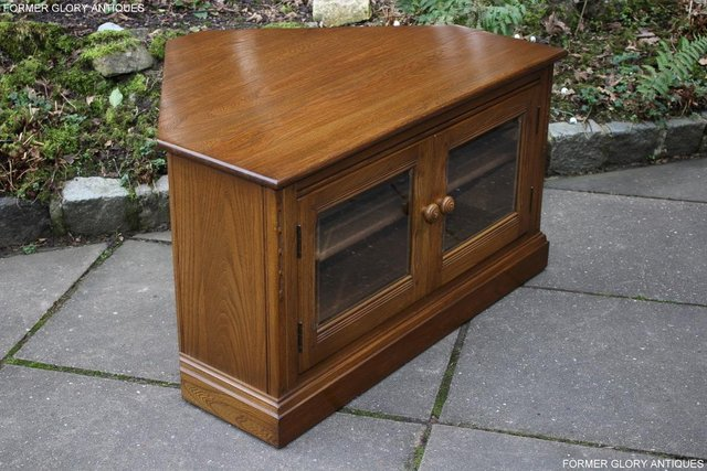 Image 61 of AN ERCOL GOLDEN DAWN CORNER TV CABINET DVD STAND TABLE UNIT