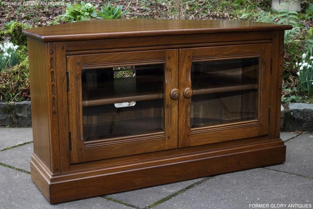 Image 65 of AN ERCOL GOLDEN DAWN CORNER TV CABINET DVD STAND TABLE UNIT