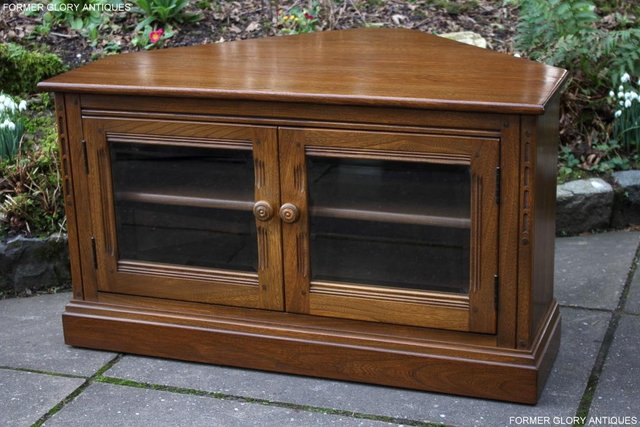 Image 66 of AN ERCOL GOLDEN DAWN CORNER TV CABINET DVD STAND TABLE UNIT