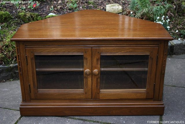 Image 69 of AN ERCOL GOLDEN DAWN CORNER TV CABINET DVD STAND TABLE UNIT