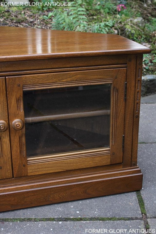 Image 74 of AN ERCOL GOLDEN DAWN CORNER TV CABINET DVD STAND TABLE UNIT